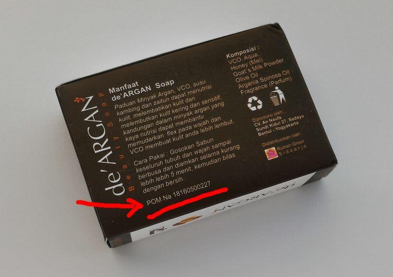 kemasan sabun de'argan tertulis nomor badan POM