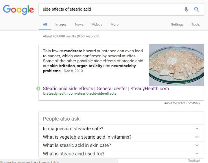 screenshot efek samping asam stearat dalam cream kefir diambil dari google